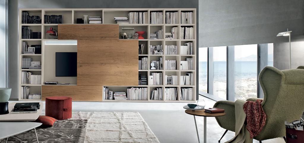 Libreria per soggiorno con porta TV Tomasella - Cogliati Arredamenti ...
